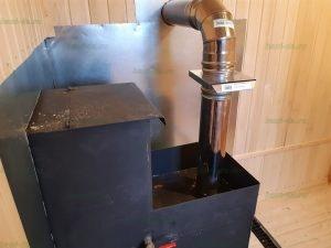 Печь с баком для воды, каменкой, и выводом трубы
